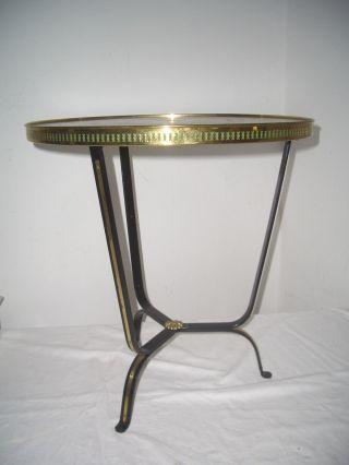 50er Jahe Tisch - Rund - Goldgeprägtes Leder,  Schmiedeeisen Bild