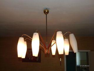 Deckenlampe Deckenleuchte Lampe Spinne Teak Messing Tütenlampe Ära 50er Jahre Bild