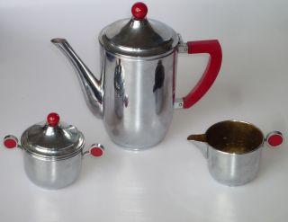 Art Deco Kaffee Tee Kern Rote Griffe Verchromt Kanne Milch Zucker Gemarkt Bild