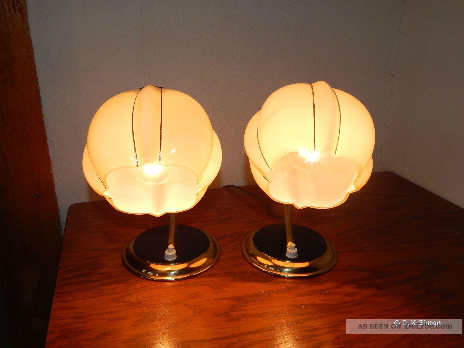 2 nachttischlampen nacht tisch leuchten glas messing art. Black Bedroom Furniture Sets. Home Design Ideas