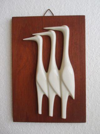 1950er Jahre: Bild Holz Mit 3 Kranichen Aus