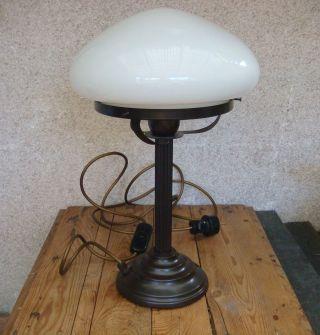 Alte Tischlampe Schreibtischlampe Verm.  Bronze Glas Jugendstil - Dachbodenfund Bild