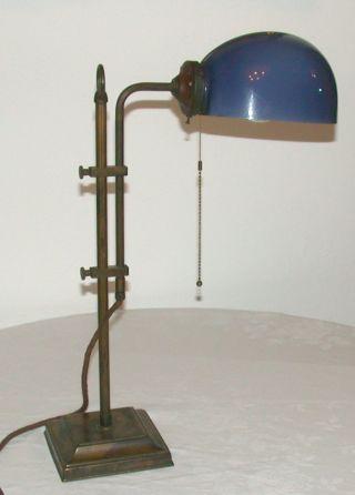 Messing Bronze Tischlampe Mit Blauem Glasschirm Jugendstil / Art Déco Bild
