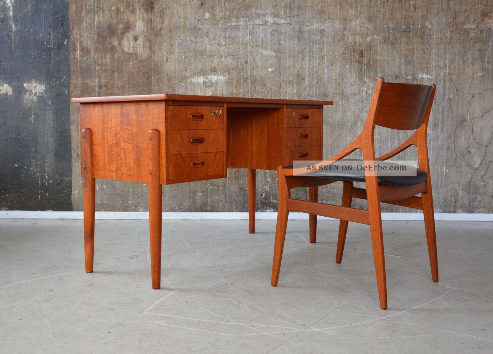 60er teak schreibtisch danish design 60s writing desk for Schreibtisch 60er