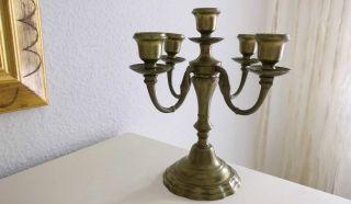 Kerzenständer Kerzenleuchter,  50iger,  Fünfarmig Messing 1210 Gramm,  Höhe 24,  5 Cm Bild