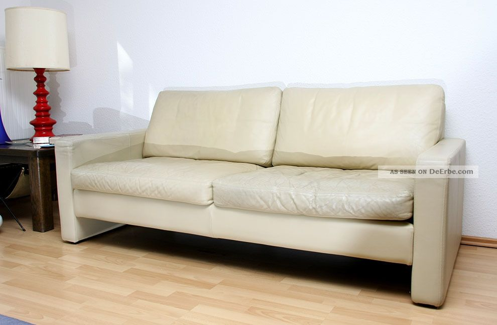 cor conseta couch 2 sitzer ledersofa in creme 2. Black Bedroom Furniture Sets. Home Design Ideas