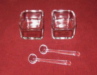 Wmf Wagenfeld 2 X Kubus Schale BehÄlter Menage Dickes Glas,  2 LÖffelchen Top Bild