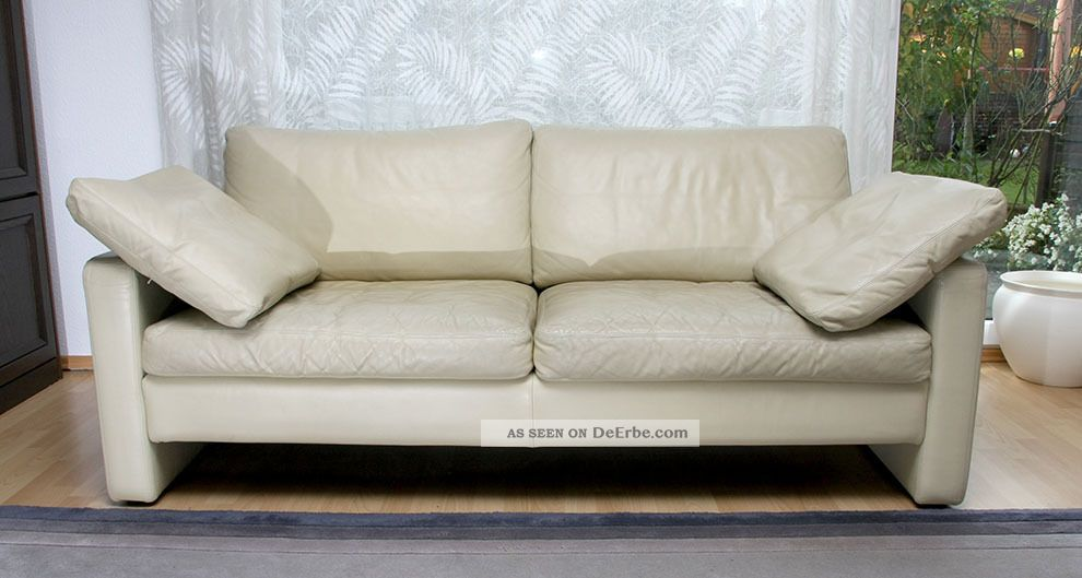 Cor Conseta Couch 2 Sitzer Ledersofa Mit Kissen In Cremeweiss
