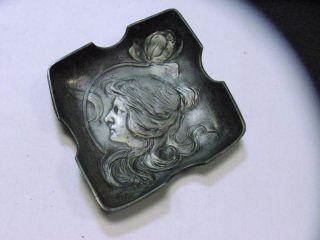 Schöner Jugendstil Motivaschenbecher Zinn Um 1900 Bild