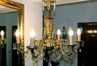 Großer Antiker Putten/engel/kronleuchter Mit Kristallprismen,  Jugendstil Bild