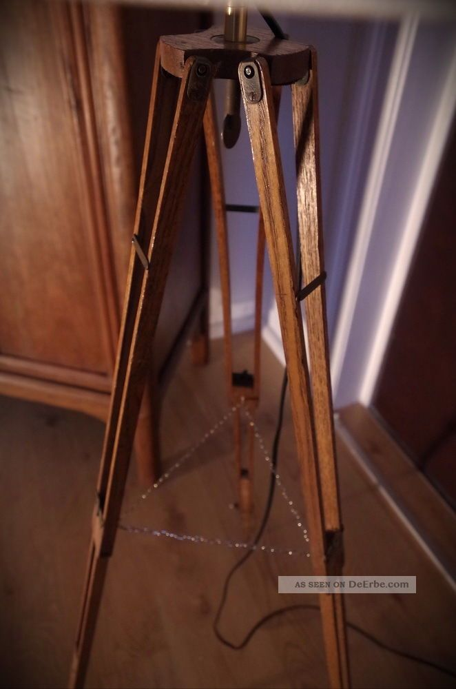 tripod loft steh lampe holz stativ bauhaus stil antik 20 30 dreibein retro stoff. Black Bedroom Furniture Sets. Home Design Ideas