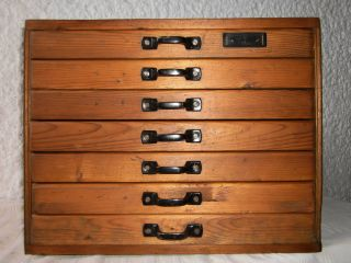 Art Deco Schrank Schubladenschrank Apothekerschrank Sortierschrank 7 Schubladen Bild