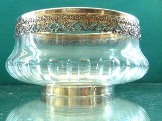 Jugenstil Große Schale 950 Er Silber Minerva Frankreich Kristall Top Bild