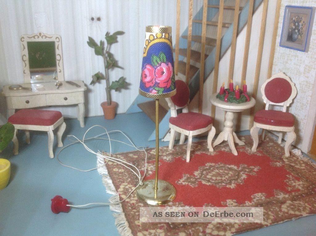 lundby puppenhaus stehlampe 70er jahre lampenschirm mit rosenmuster. Black Bedroom Furniture Sets. Home Design Ideas