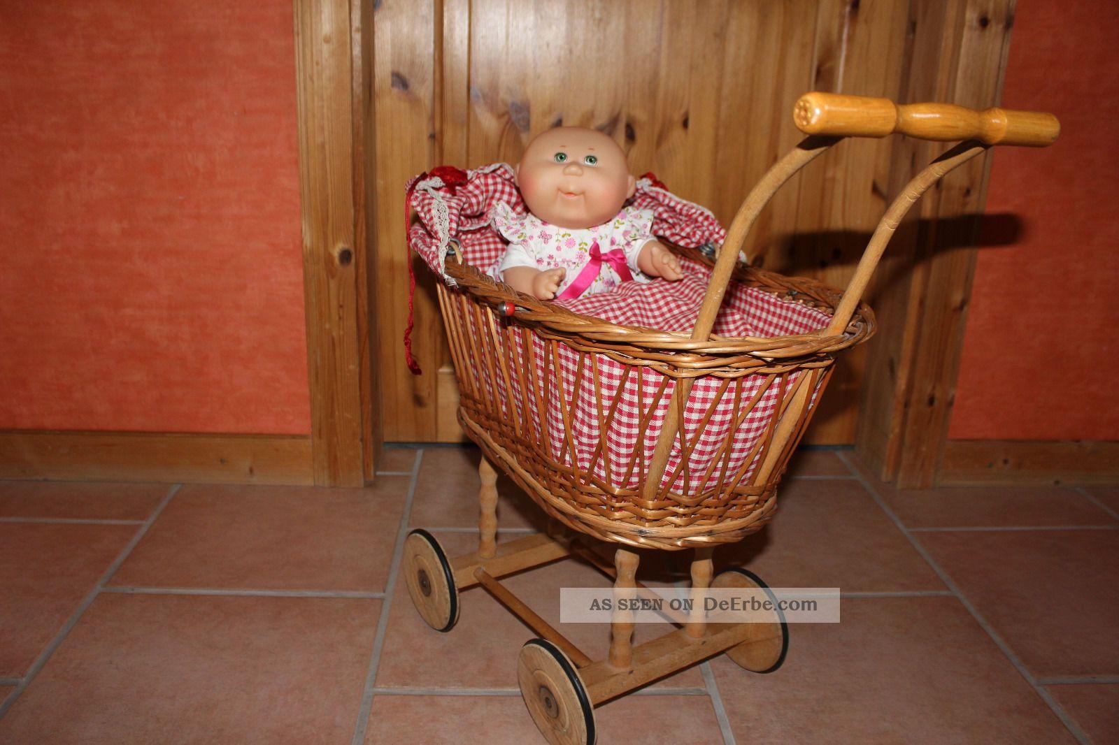 Puppenwagen stubenwagen korb mit karostoff matratze und kissen