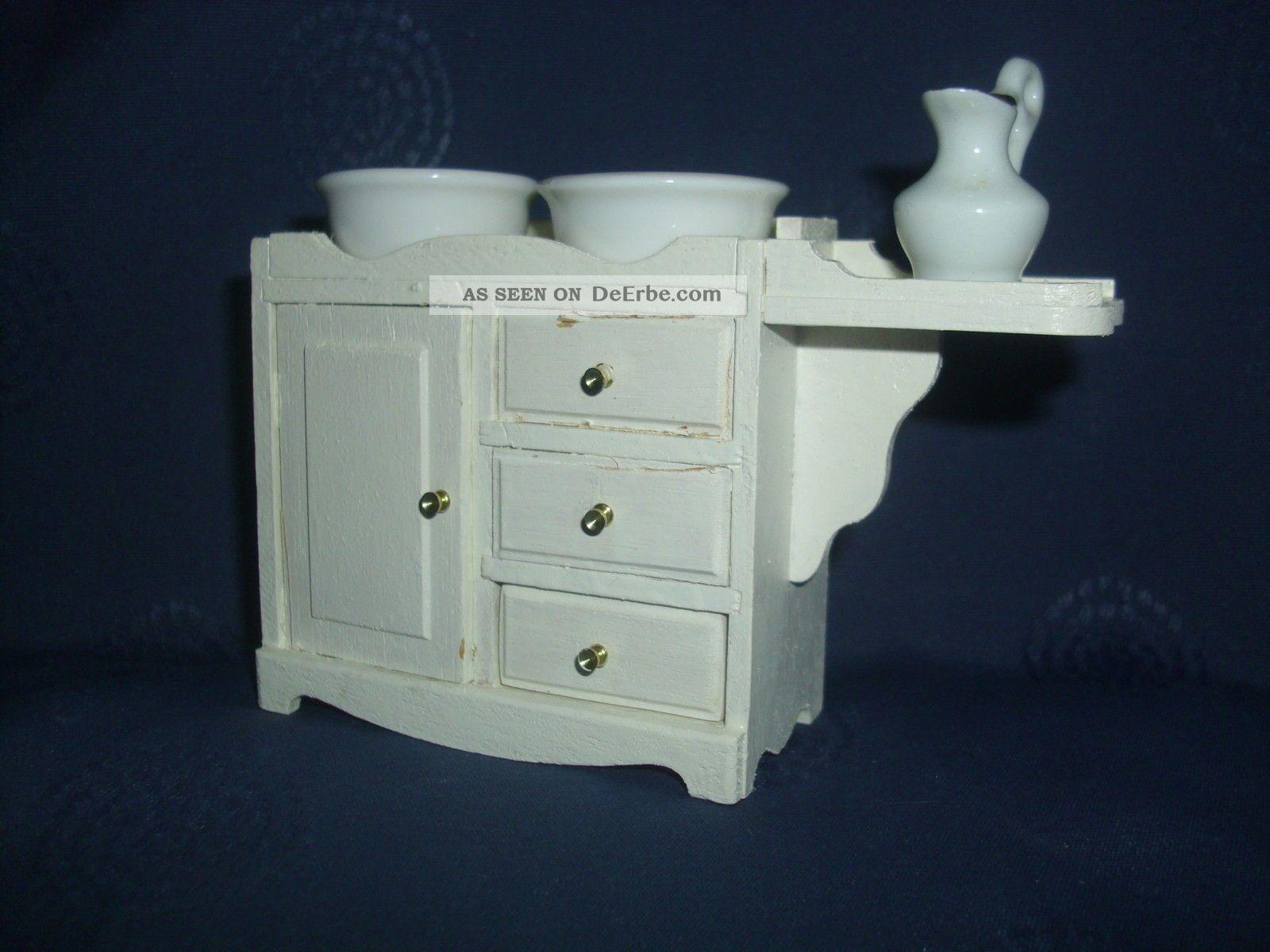 holz waschtisch porzellan waschset 2 waschsch ssel waschkrug f r puppenstube. Black Bedroom Furniture Sets. Home Design Ideas