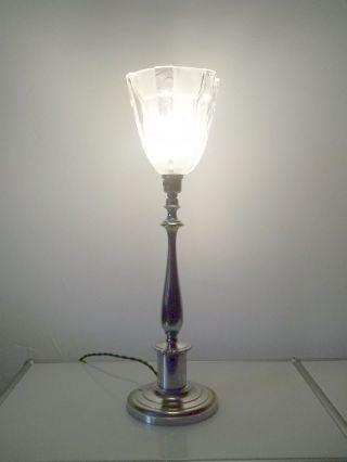 Tischlampe Vernickelt Art Deco Lampe Um 1930 Petitot Glas Bild