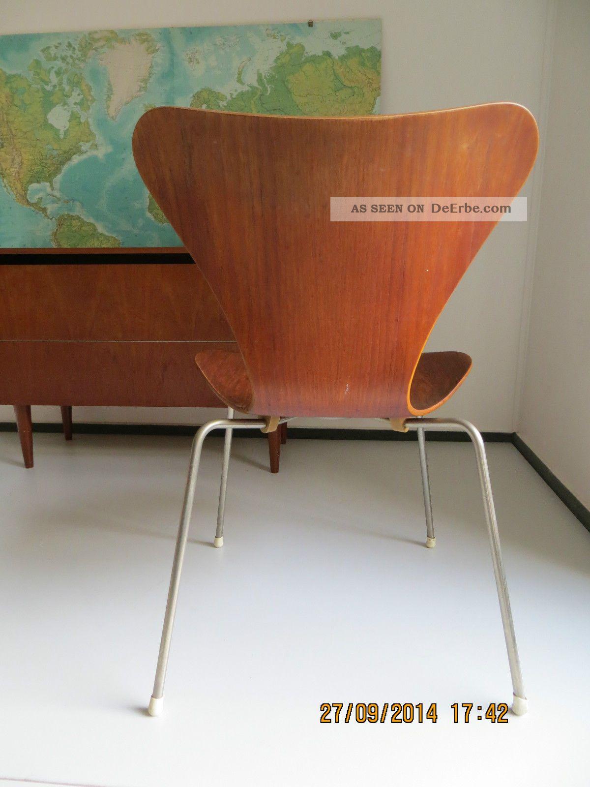 Arne jacobsen 3107 fritz hansen 50er 60er teak stuhl for Stuhl design epochen