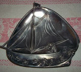Alte Schale - Segelboot - Boot - Schiff - Metallschale - Silber?? Metall - Teller Bild