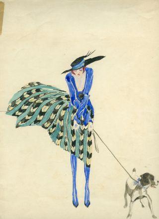 KÜnstlerisches Art Deco Aquarell Frau Im Rock Und HÜndchen - Um 1925 Traumhaft Bild