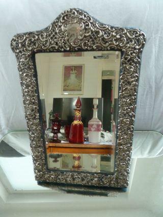 Tischspiegel,  Massiv Silber Rahmen,  Rosen Rocallien Bild