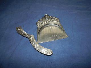 Jugendstil Tisch - Kehrset Handfeger Schaufel Tischbesen Silberfarben Um 1900 Bild
