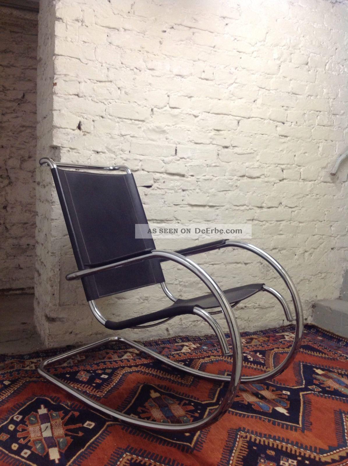 Sessel Schaukelstuhl Rocking Chair Stahlrohr Leder Schwarz Bauhaus
