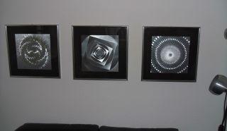 Space Age Op Art 3er Serie Bilder Abstrakt Silberfolie In Passepartouts Gerahmt Bild