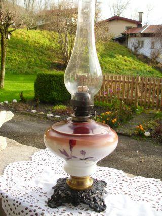 Antik Lampe Jugendstil Tischlampe Petroleum - Lampe,  Bemalen. Bild