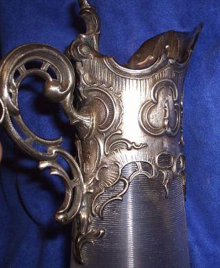 Alte Jugendstil Karaffe Glas,  Silber - Zinn - Montierung Carl Deffner Esslingen Bild