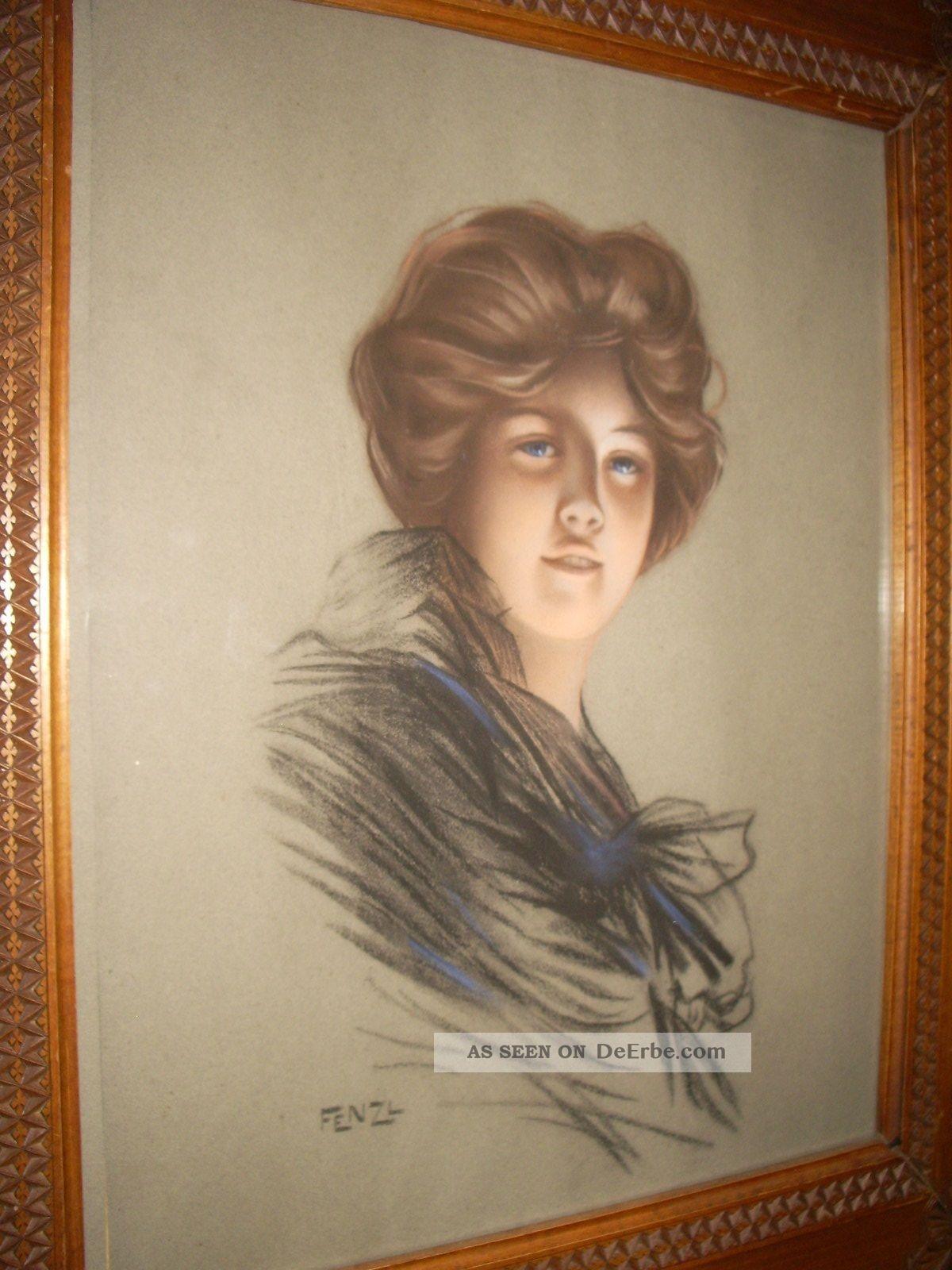 Sig;handgemaltes Bild Auf Papier 1880 - 1920 Mit Handgeschnitzten Rahmen 1890-1919, Jugendstil Bild