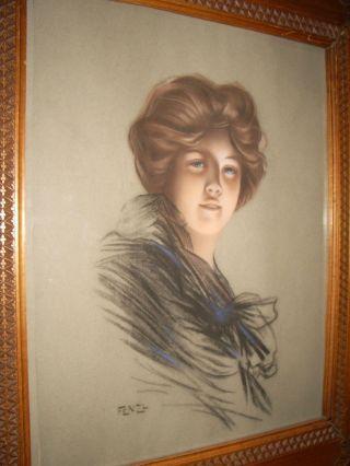 Sig;handgemaltes Bild Auf Papier 1880 - 1920 Mit Handgeschnitzten Rahmen Bild