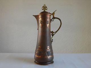 Gr.  Alte Wmf Jugendstil Zinndeckel Kupfer Kanne 35cm,  Straußenmarke,  Weinkanne,  Krug Bild
