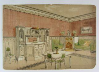 Raumentwurf,  Jugendstil,  Um 1910,  Werkbund,  Hellerau,  Olbrich,  MÖhring Bild