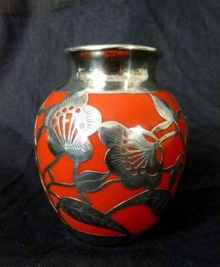 Jugendstil Vase Silver Silberoverlay - Friedr.  Wilhelm Spahr - 1000er Silber Bild