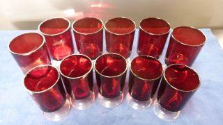 Luminarc Gläser Rot - 60er Jahre - 11 Stück - Vintage Rockabilly Chic Bild
