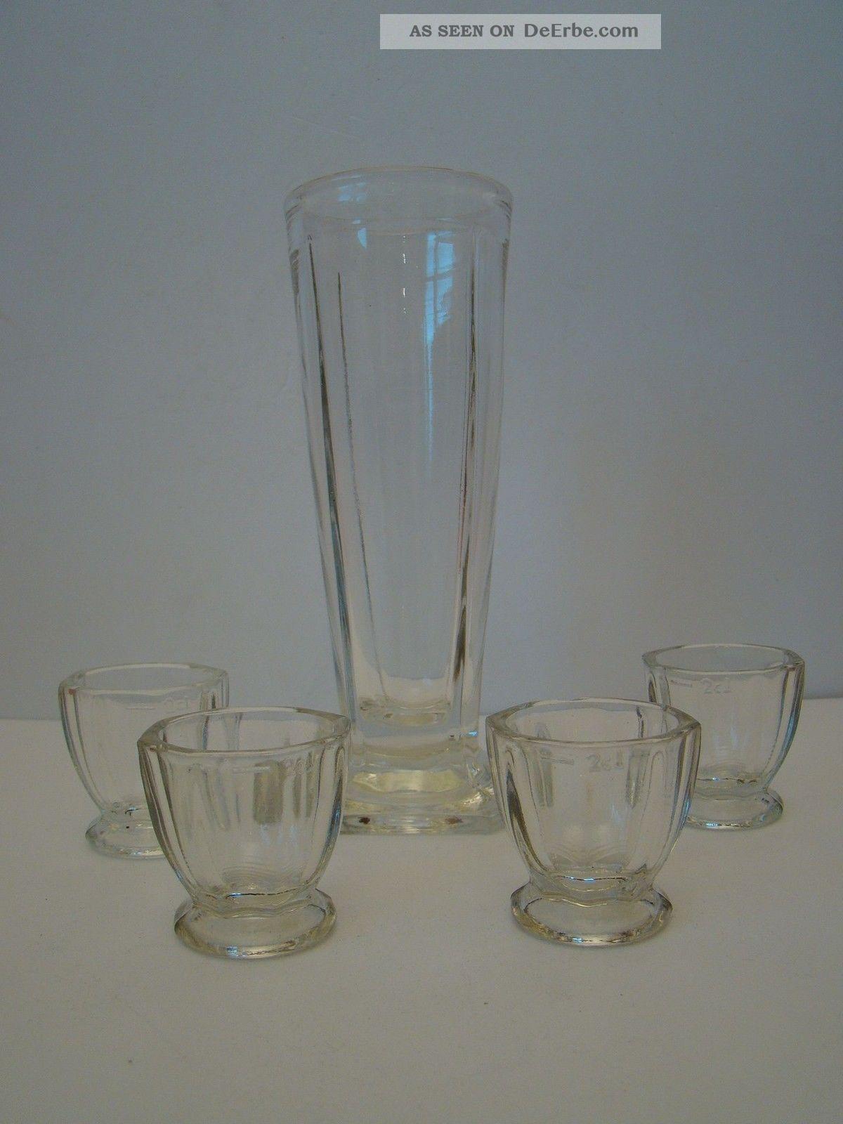4 Antike Schnapsgläser Mit Karaffe Glas & Kristall Bild
