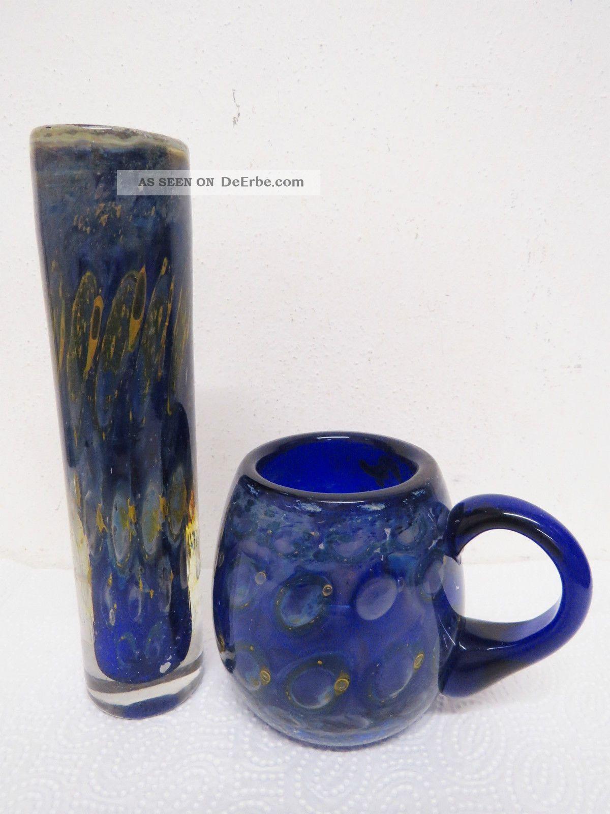 2 Teile Glas Eisch Signiert Tasse,  Vase Sehr Alt.  Glasvase Glastasse Glas & Kristall Bild