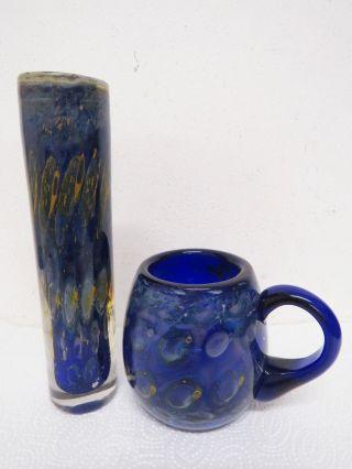 2 Teile Glas Eisch Signiert Tasse,  Vase Sehr Alt.  Glasvase Glastasse Bild