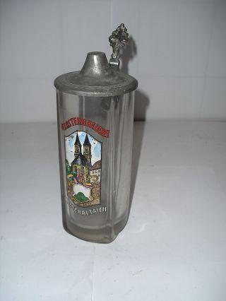 K141 Glaskrug Mit Zinndeckel Klosterbrauerei Niederaltaich Bild