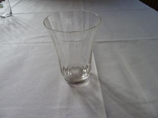 Altes Trinkglas - Wasserglas Gewellt - Kelchform - Mundgeblasen - Streifenschliff Bild