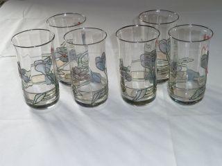 6 Wassergläser Gewellt - Kelchform - Mundgeblasen - Handbemalt - Emailedekor Bild