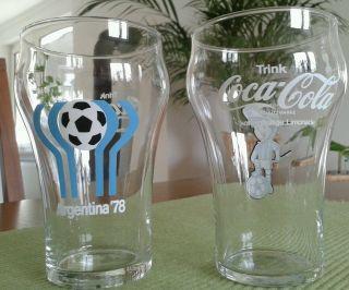 Coca Cola Gläser 70er Jahre (2 Stück) - Fußball Wm 1978 Argentinien Bild