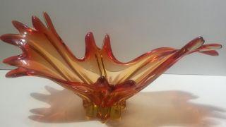 Murano Schale Riesig Xxl 1990gr.  Zipfelschale 48cm Massiv Murano Glas Top Bild