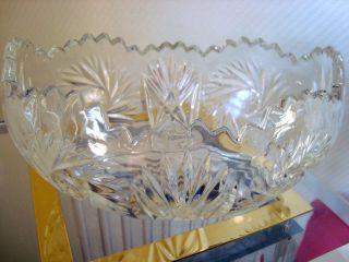 Kristallschale Schale Oval Mit Schleuderstern Schliff Schwerer Stand Bodenstern Bild