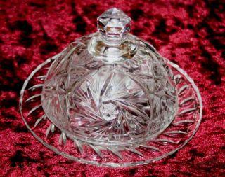 Alte Butterglocke Käseglocke Deckeldose Kristall Schleuderstern Bild