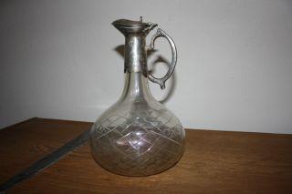 Wunderschöner Glas Karaffe Krug Dekanter Weinkrug Wasserkrug Deco Bild
