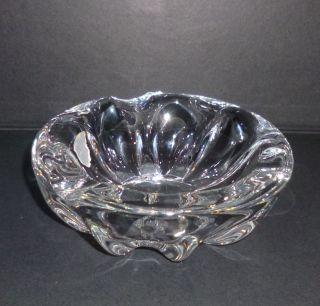 Val St.  Lambert Kristallglas Glas Aschenbecher Schale Fluide Rippen Signiert 1960 Bild