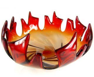 Murano Design Glas Schale / Zipfelschale Italy Glass Bowl Sommerso 27cm Bild