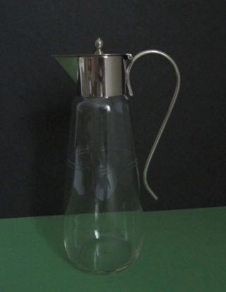 Glaskaraffe Mit Metallmontur (deckelkrug) Jugendstil Bild